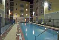 Courtyard swimming pool provides extra privacy for residents.