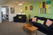 Relax and unwind in our cozy 4/4 common areas. Standard furniture package pictured here.